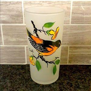 Vintage Oriole flower/leaves brunch painted glass